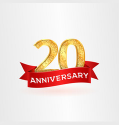 the twentieth anniversary of birth with red ribbon vector image vector image