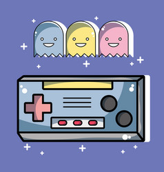 Videogame technology console with character games vector