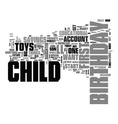 What to buy for your childs first birthday text vector