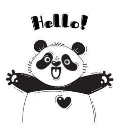 With joyful panda who shouts - hello vector
