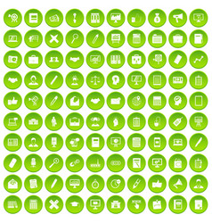 100 finance icons set green circle vector