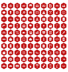 100 plant icons hexagon red vector image vector image