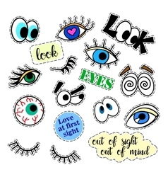 Fashion patch badges eyes set stickers pins vector