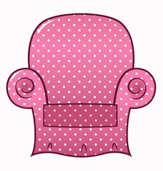 Pink dotted chair clipart isolated on white vector