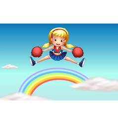 A cheerer above the rainbow vector image