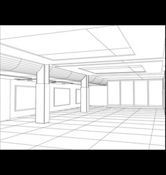 Hall of an outline sketch vector