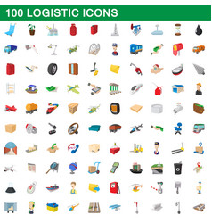 100 logistic set cartoon style vector
