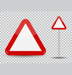 Warning road sign on transparent background red vector