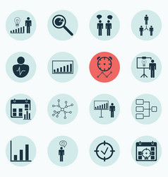 Set of 16 executive icons includes planning vector