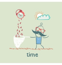 man catches a time vector image