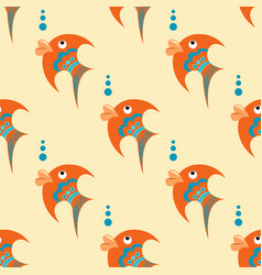 Orange fish with blue ornament on a beige vector