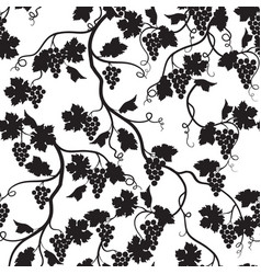 Floral tiled pattern with grape branch silhouette vector