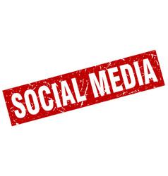 Square grunge red social media stamp vector