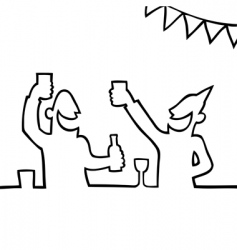 Two people partying with drink vector