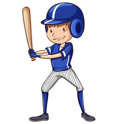 A baseball player with a blue uniform vector image