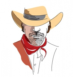 Cowboy face color vector