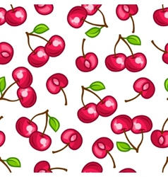 Seamless pattern with stylized fresh ripe cherries vector
