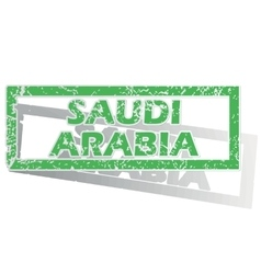 Green outlined saudi arabia stamp vector