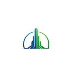 Abstract building arrow cityscape business logo vector