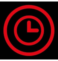 Clock flat red color rounded icon vector