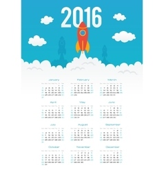 Starting rocket 2016 year calendar template vector