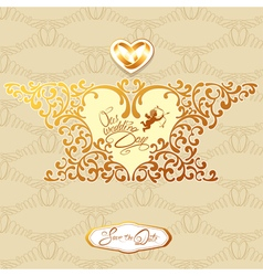 Wedding gold card 380 vector