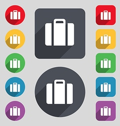 Suitcase icon sign a set of 12 colored buttons and vector