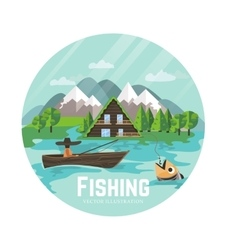 Outdoor recreation and fisherman vector