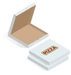 Realistic 3d isometric pizza cardboard box opened vector