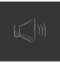 Speaker volume drawn in chalk icon vector