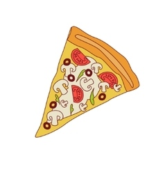 Pizza slice with mushrooms and tomato vector