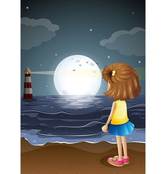 A girl watching the lighthouse in the beach vector image vector image