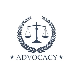 Advocacy Scales of Justice icon or emblem vector image vector image
