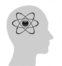 atomic symbol in human head vector image vector image
