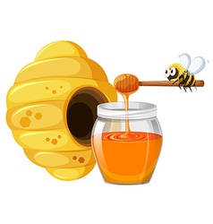 Bee and honey in jar vector image