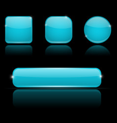 blue buttons with reflection on black background vector image