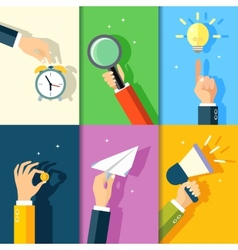 Business hands icons vector image