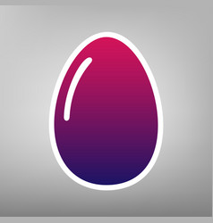 Chicken egg sign purple gradient icon on vector