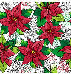 christmas seamless pattern of poinsettia with vector image vector image