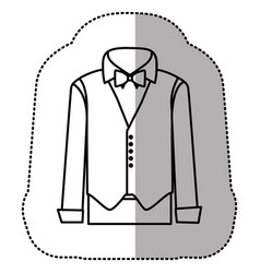 Contour sticker suit with shirt waistcoat and vector