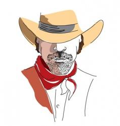 cowboy face color vector image