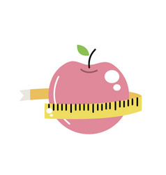 Delicious apple fruit with tap measuring vector