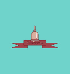 Flat icon with thin lines school bell vector