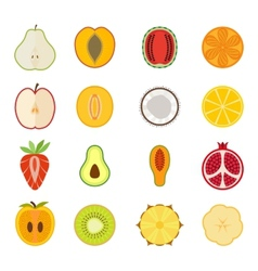 fruit icon set - pear peach apricot vector image
