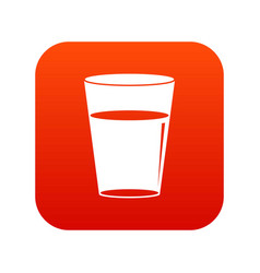 glass water icon digital red vector image vector image