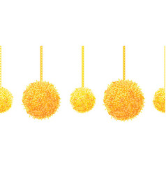Golden yellow decorative pompoms big and vector