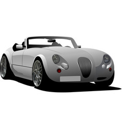 Gray car cabriolet on the road vector