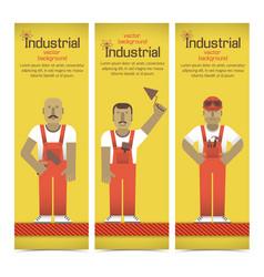 Industrial workmen banners set vector