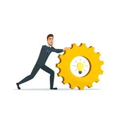 Man rolls gear business cartoon concept isolated vector