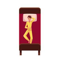 Man sleeping in bed wearing pajamas lying on vector